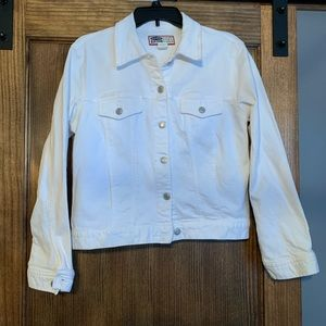 Woman's white denim jacket